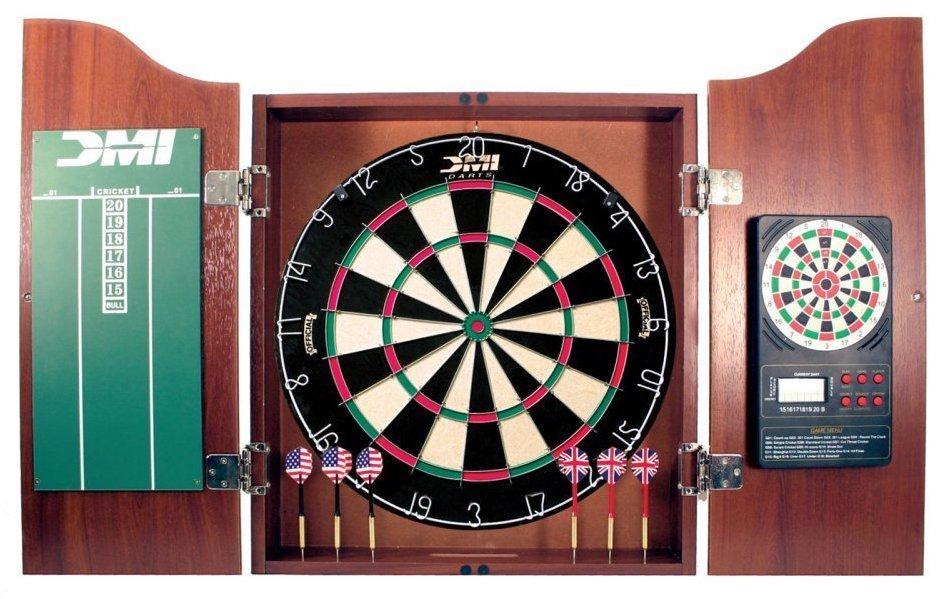 FlickBuyz-Kings Head Dark Wood Dartboard Cabinet Set Pub /& Lodging-18 Inch w// 6 Steel Tip Darts