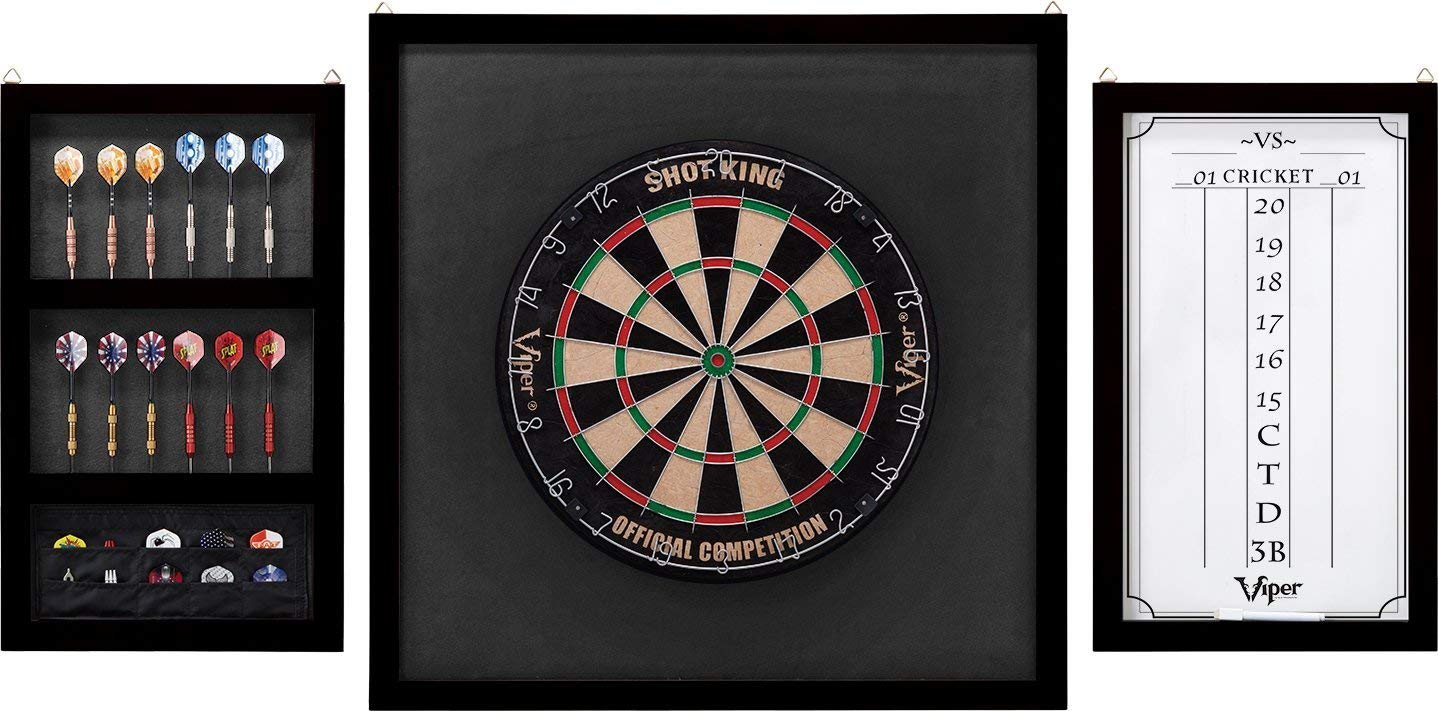 Viper Championship Wood Framed Dartboard Backboard Set, Mahogany Finish