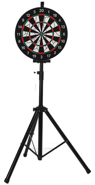 SPRAWL Portable Dart Board Stand-One 18 Dartboard-6 Brass Darts-Funny Game Set